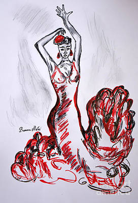Hands Of Love Drawing - Red Flamenco  by Ramona Matei