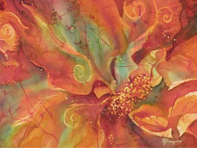 Fiber Art Painting - Flaming Flower 1 by Deborah Younglao