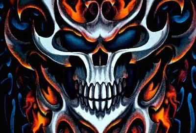 Flaming Skull Print by Deena Stoddard
