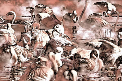 Greater Flamingo Painting - Flamingo Dreams by Donna Proctor