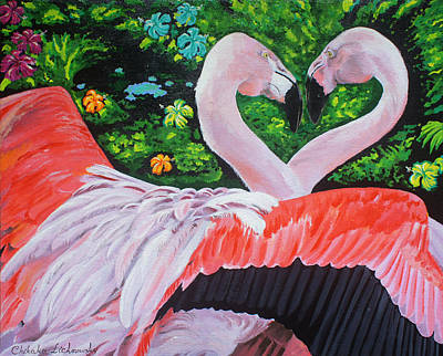 Flamingo Paradise Print by Chikako Hashimoto Lichnowsky