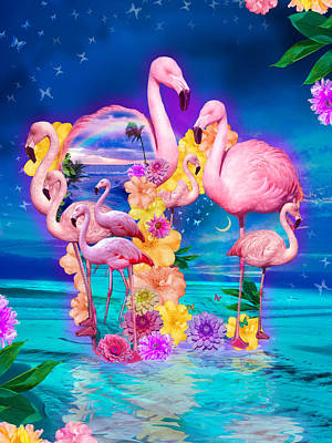 Alixandra Mullins Photograph - Flamingo Shape Wbackground by Alixandra Mullins