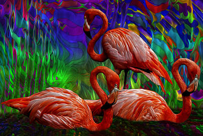 Digital Altered Painting - Flamingo Trio II by Jack Zulli