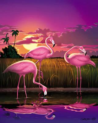 Coastal Decor Digital Art - Flamingoes Flamingos Tropical Sunset Landscape Florida Everglades Large Hot Pink Purple Print by Walt Curlee