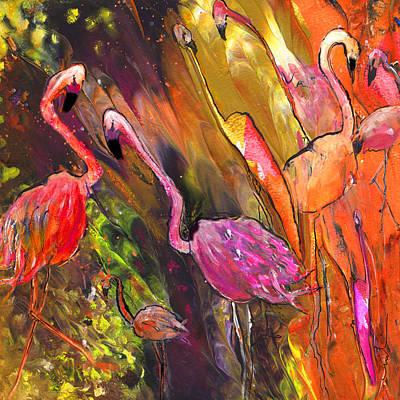 Flamingo Drawing - Flamingoes Wild by Miki De Goodaboom