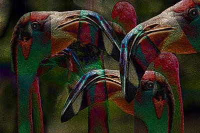 Waterfowl Digital Art - Flamingos 3 by Jack Zulli