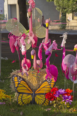 Flamingos Butterfly And Flowers Display. Original by Gino Rigucci