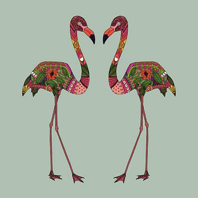 Flamingo Drawing - Flamingos Seafoam by Sharon Turner