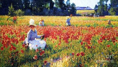 Poppies Field Painting - Flanders Fields Where Soldiers Sleep And Poppies Grow by Pg Reproductions