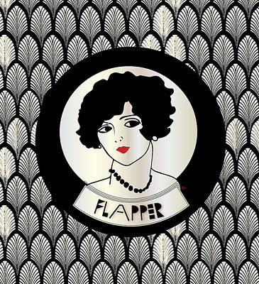 1920s Flapper Gatsby Girl In Black And Pearl Print by Cecely Bloom
