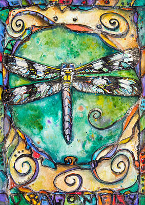 Silver Turquoise Painting - Flashy Dragonfly Children Of The Earth Series by Patricia Allingham Carlson