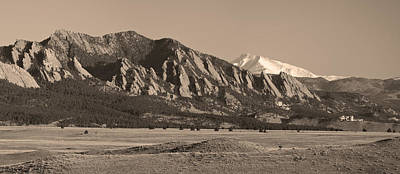 Flatirons And Snow Covered Longs Peak Panorama In Sepia Print by James BO  Insogna
