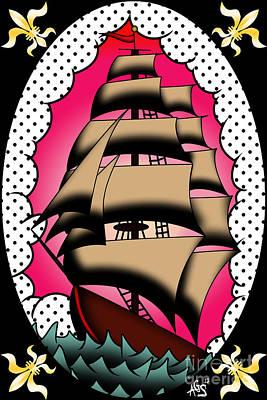 Tattoo Flash Digital Art - Fleur De Lis Clipper by Gratia  Siegel