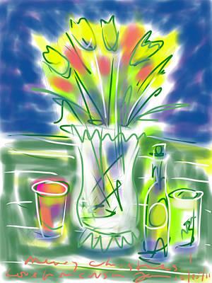 Glass Bottle Drawing - Fleur Noel by Jean Pacheco Ravinski