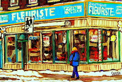 Montreal Buildings Painting - Fleuriste Notre Dame Flower Shop Paintings Carole Spandau Winter Scenes by Carole Spandau