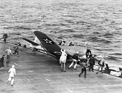 World War Ii Bomber Photograph - Flight Deck Crash by Underwood Archives