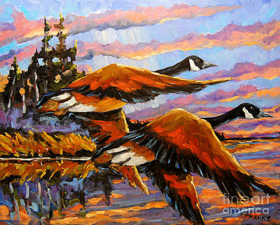 Quebec Painting - Flight Navigations Geese In  Motion by Richard T Pranke