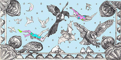 Magpies Drawing - Flight Of Fantasy by Sassy Luke