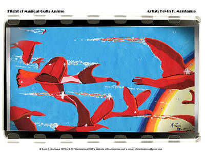 Flight Of Magical Gulls Anime Print by Kevin Montague