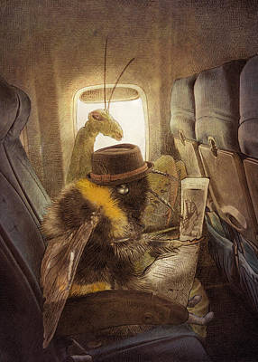Hat Drawing - Flight Of The Bumblebee by Eric Fan