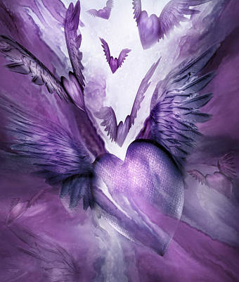 Mood Art Mixed Media - Flight Of The Heart - Lavender by Carol Cavalaris