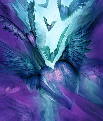 Mood Art Mixed Media - Flight Of The Heart - Teal Purple by Carol Cavalaris