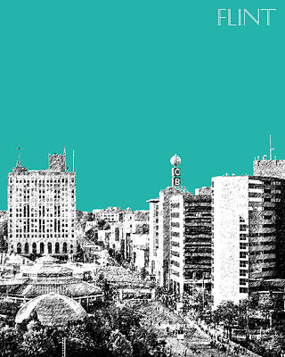 Pen Digital Art - Flint Michigan Skyline - Teal by DB Artist