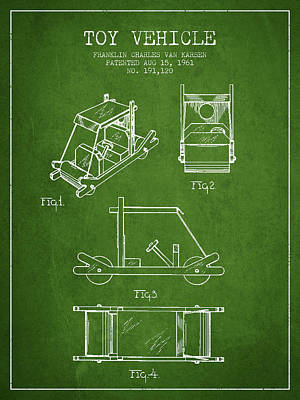 Betty Drawing - Flintstones Toy Vehicle Patent From 1961 - Green by Aged Pixel
