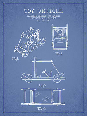 Betty Drawing - Flintstones Toy Vehicle Patent From 1961 - Light Blue by Aged Pixel