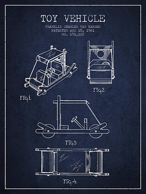 Betty Drawing - Flintstones Toy Vehicle Patent From 1961 - Navy Blue by Aged Pixel