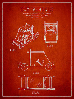 Betty Drawing - Flintstones Toy Vehicle Patent From 1961 - Red by Aged Pixel