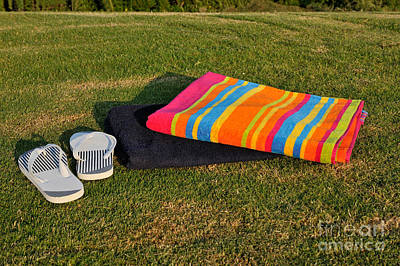 Towels Photograph - Flip Flops And Towels On Grass by George Atsametakis
