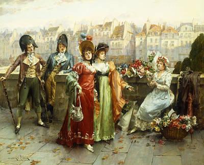 Flirtation Painting - Flirtation by Henri-Victor Lesur