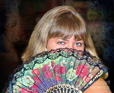 Flirting With The Fan Print by Mariola Bitner