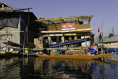 Reflections On Bottle Photograph - Floating Shop Along With Another Shop On Floats In The Dal Lake by Ashish Agarwal