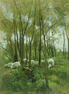 Dutch Shepherd Painting - Flock Of Sheep In A Forest by J Beek