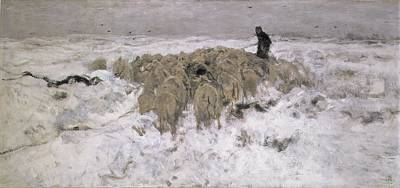 Flock Of Sheep In The Snow Print by Anton Mauve