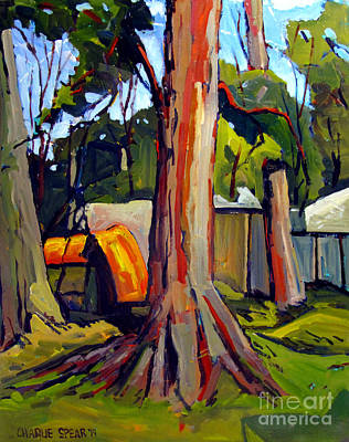 Artifacts Painting - Flint Ridge Campsites 2014 National Knap-in by Charlie Spear