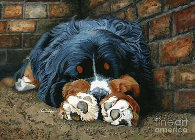 Paws Painting - Flop Those Lips Fast Asleep Extra Ventilation by Liane Weyers