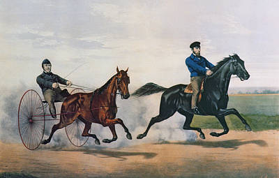 Temple Painting - Flora Temple And Lancet Racing On The Centreville Course by Currier and Ives