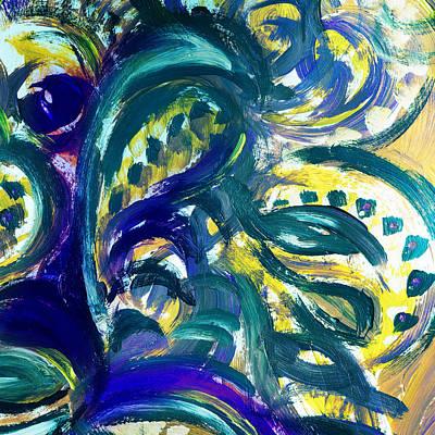 Floral Abstract Dancing Leaves Print by Irina Sztukowski