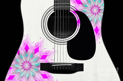 Flora Digital Art - Floral Abstract Guitar 1 by Andee Design