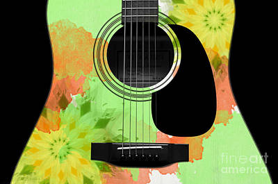 Floral Abstract Guitar 15 Print by Andee Design
