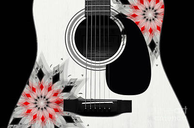 Floral Abstract Guitar 2 Print by Andee Design
