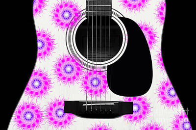 Floral Abstract Guitar 20 Print by Andee Design