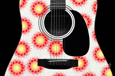 Floral Abstract Guitar 21 Print by Andee Design