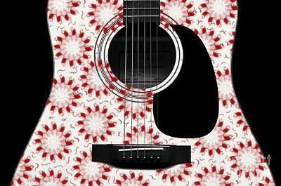 Floral Abstract Guitar 24 Print by Andee Design