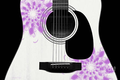 Bridge Digital Art - Floral Abstract Guitar 26 by Andee Design