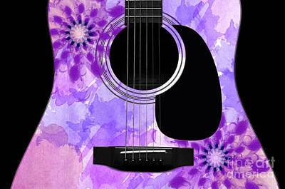 Sound Digital Art - Floral Abstract Guitar 29 by Andee Design