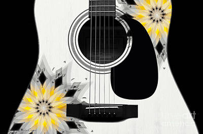 Floral Abstract Guitar 3 Print by Andee Design